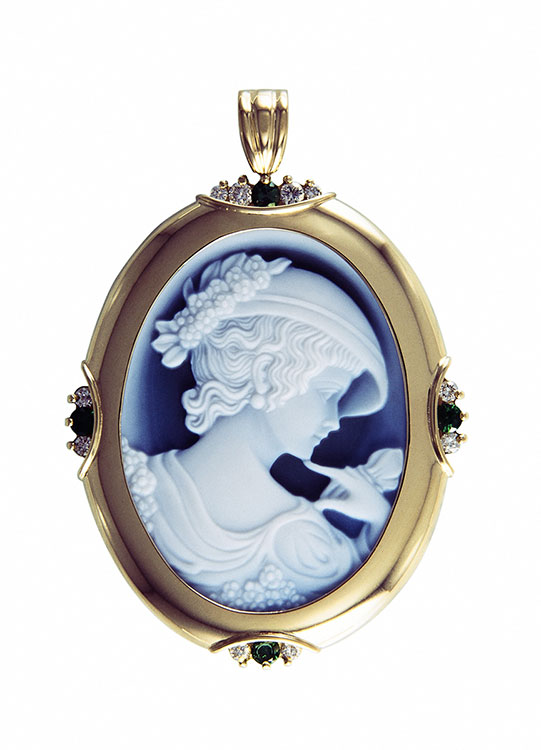 Cameo, Diamond, and Emerald 18k Yellow Gold Pendant